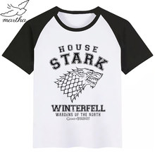 Game of Thrones Casa Stark di Stile di Estate Divertente Cute Girl Magliette e camicette di Modo Streetwear Harajuku Boy Tshirt Ragazzo di Strada T Shirt(China)
