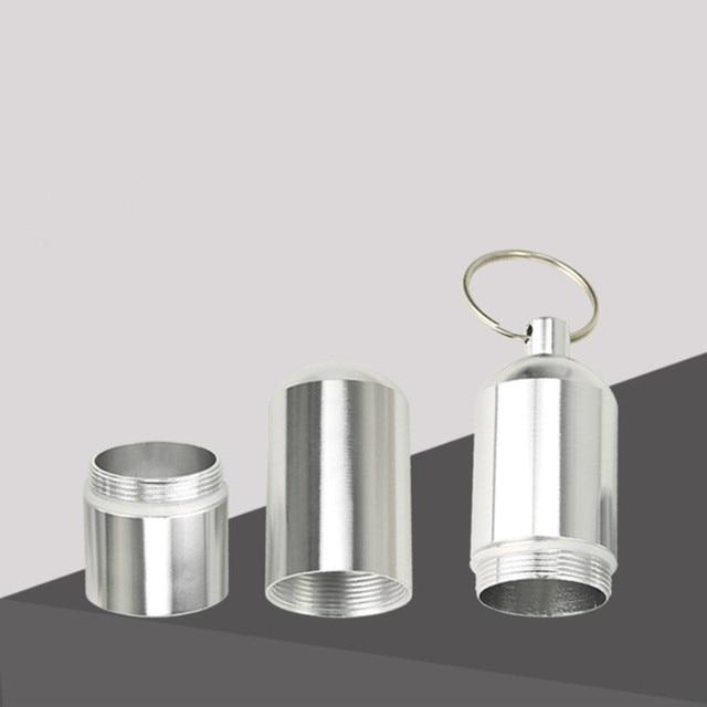 Aluminiowe pudełko na tabletki Case kształt kapsułki brelok na zewnątrz wodoodporny worek uchwyt na pigułki pojemnik delikatny Organizer na leki Box
