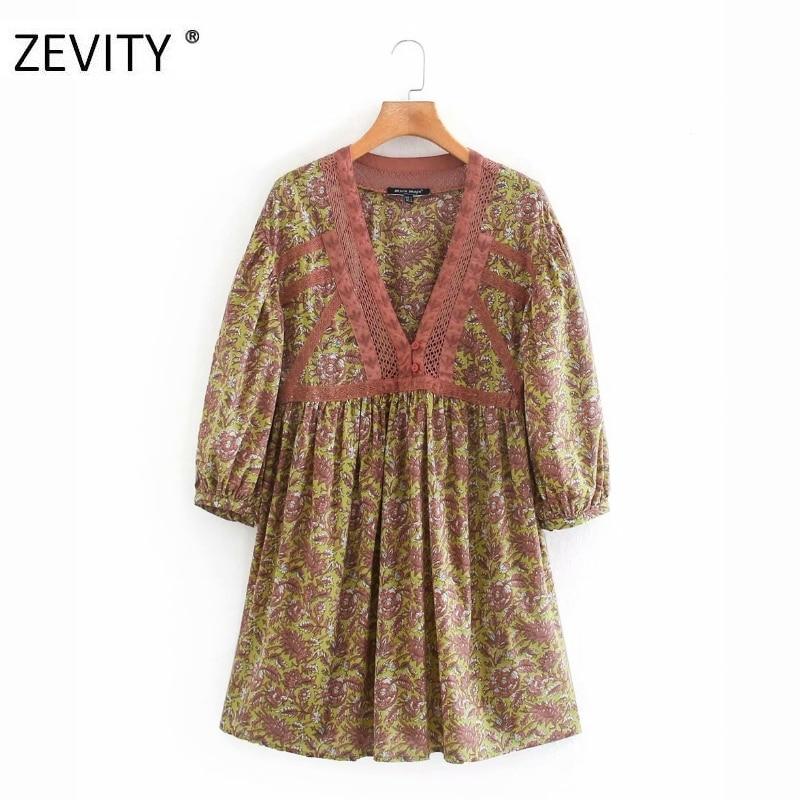Zevity women vintage hollow lace patchwork print pleats mini dress female v neck puff sleeve vestidos chic casual dresses DS4215