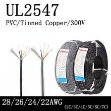 2/5m 28awg 26awg 24awg 22awg ul2547 blindagem cabo canal de áudio 2-3-4-5-6-7 núcleo fones de ouvido controle cabo de controle de sinal de cobre