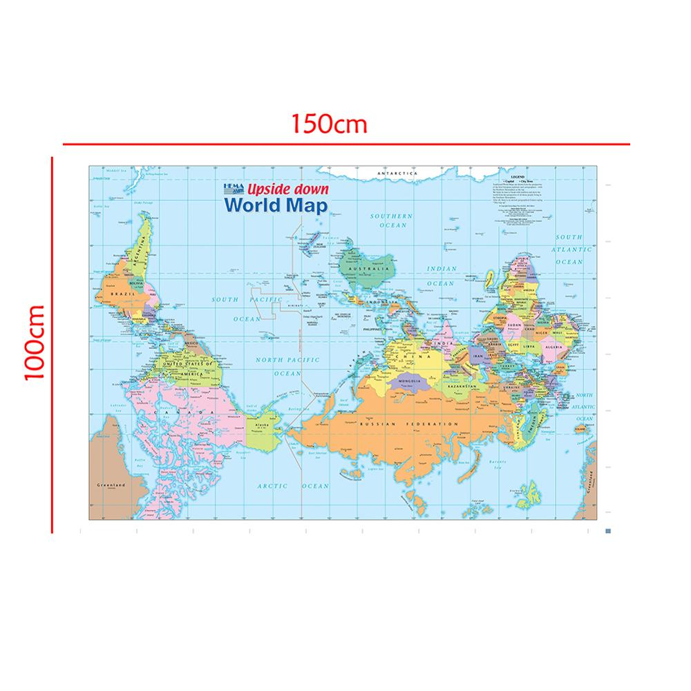 150x100cm The World Map Upside Down Non-woven Waterproof Map Without National Flag For Beginner