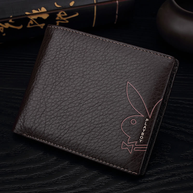 A Generation Of Fat Shoppe Genuine Product PLAYBOY Wallet Men Full-grain Leather Two Fold Genuine Leather Wallet Fashion Exposur