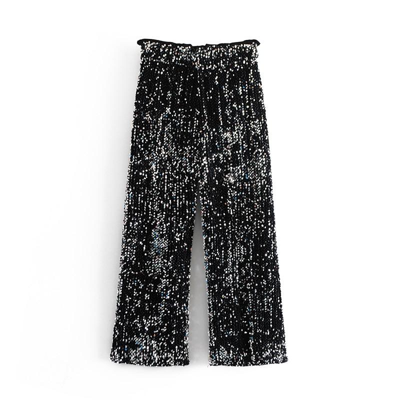 OMIKRON New High Quality Women Black Casual Loose   Wide     Leg     Pants   Fashion Elegant Tide High Street Sequin Trousers Femme Pantalon