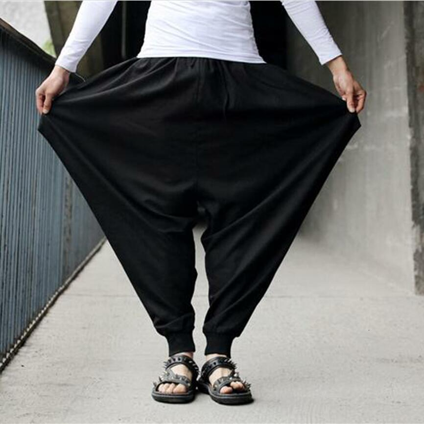 Cotton Linen Mens Harem Baggy Pants Japanese Loose Casual Style Boho Trousers Mens Cross-pants Crotch Pants Wide Leg Mens Pants