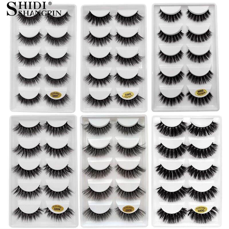5 Pairs Mink Eyelashes 3D Fake Lashes Winged Thick Makeup Eye Lash Dramatic Lashes Natural Volume Soft False Lashes Cilios G800