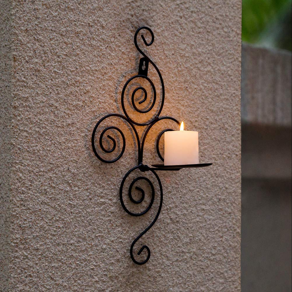 Candle Holder Shelf New Home Candlestick Holders Handmade Iron Hanging Wall Sconce Furnishing Articles Decoration image