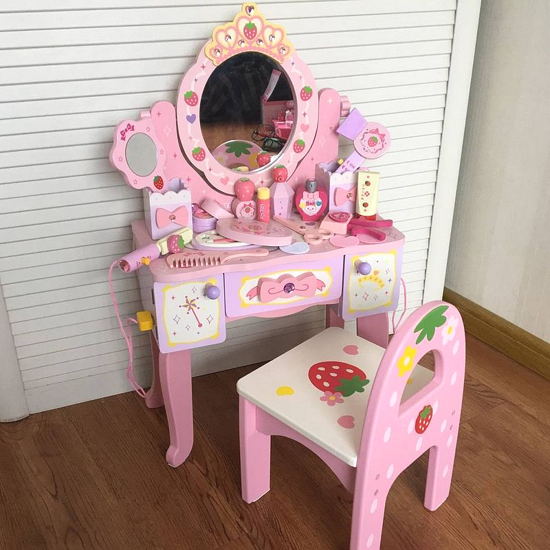 Children's Imitation Wooden Dressing Table Princess Make-up Table Home Girls Accept Jewelry Box Haircut Toys