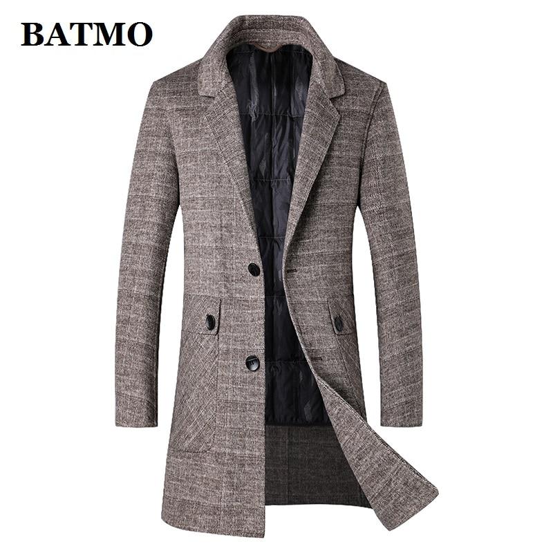 BATMO new arrival winter 90% white duck down liner thicked wool trench coat men,men's wool jackets,men's wool warm coat 210