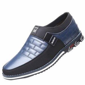 Image 1 - בתוספת גודל 38 46 חדש 2021 אמיתי עור גברים נעליים יומיומיות מותג Mens ופרס מוקסינים לנשימה להחליק על שחור נהיגה נעליים