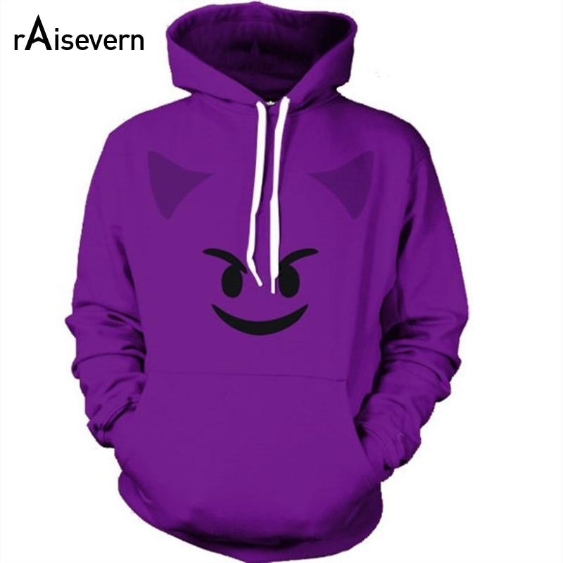 Fashion 3D Hoodie Emoji Purple Devil Hoodie 3d Print Purple Evil Emoticon Unisex Pullover Casual Sweatshirts Streetwear Dropship