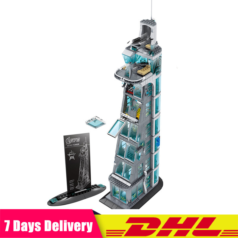Stark Iron Man Thanos Attack on Avengers Tower Building Blocks Bricks Compatible SH678 <font><b>76038</b></font> Gift for Children Kids image