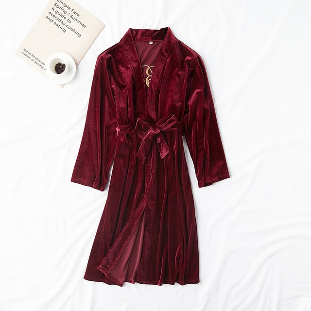 New Women Robe Gown Winter Velvet Warm Nightgown Lingerie Bride Bridesmaid Wedding Robes Dress Kimono Bathrobe Sleep Shirt