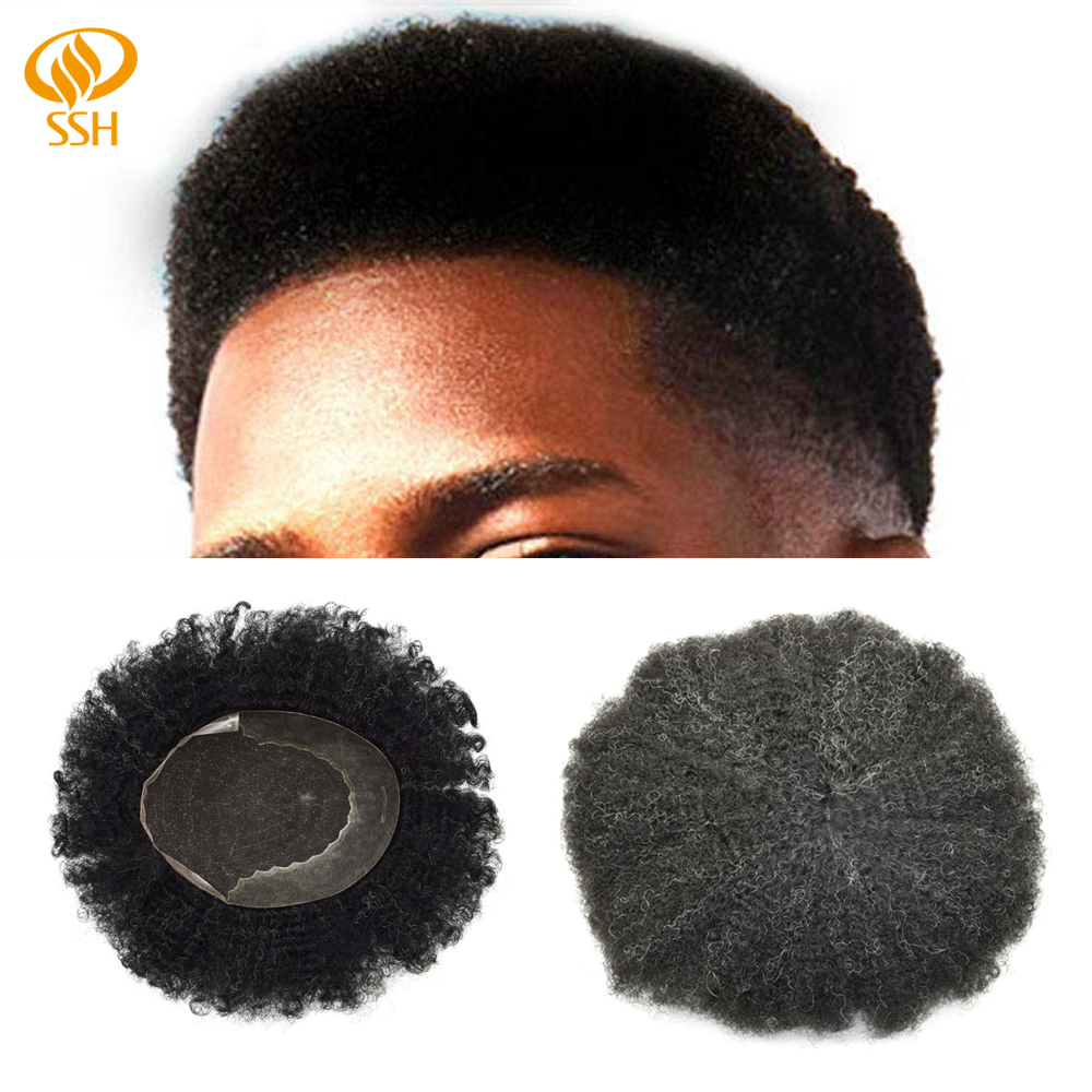 SSH Mens Toupee French Lace Front Non-Remy Hair Replacement Bleached Knots System Hairpiece Afro Curl Wave