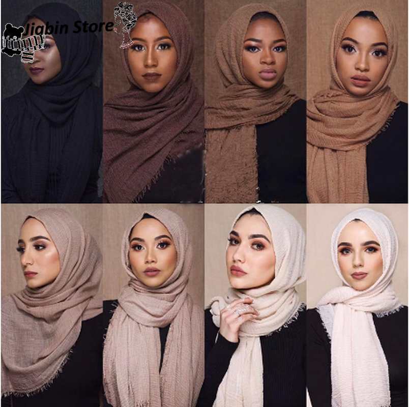 Crushed Cotton Scarf Solid Color Sunscreen Shawl Muslim Hijab Turban Femme Clothes Wholesale Drop Shipper