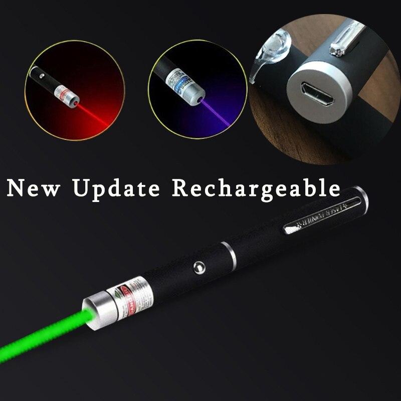 USB заряжаемая лазерная указка 5 мВт красный точечный лазерный светильник ручка Мощный лазерный измеритель 530 нм 405 нм 650нм лазерная ручка заб...