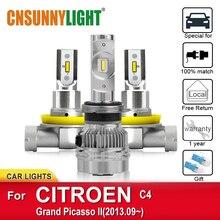 цена на CNSUNNYLIGHT Car Super Bright Headlight Bulbs For CITROEN C4 Grand Picasso II From 2013 Foglamp Bulb Waterproof Led H7 Headlamp