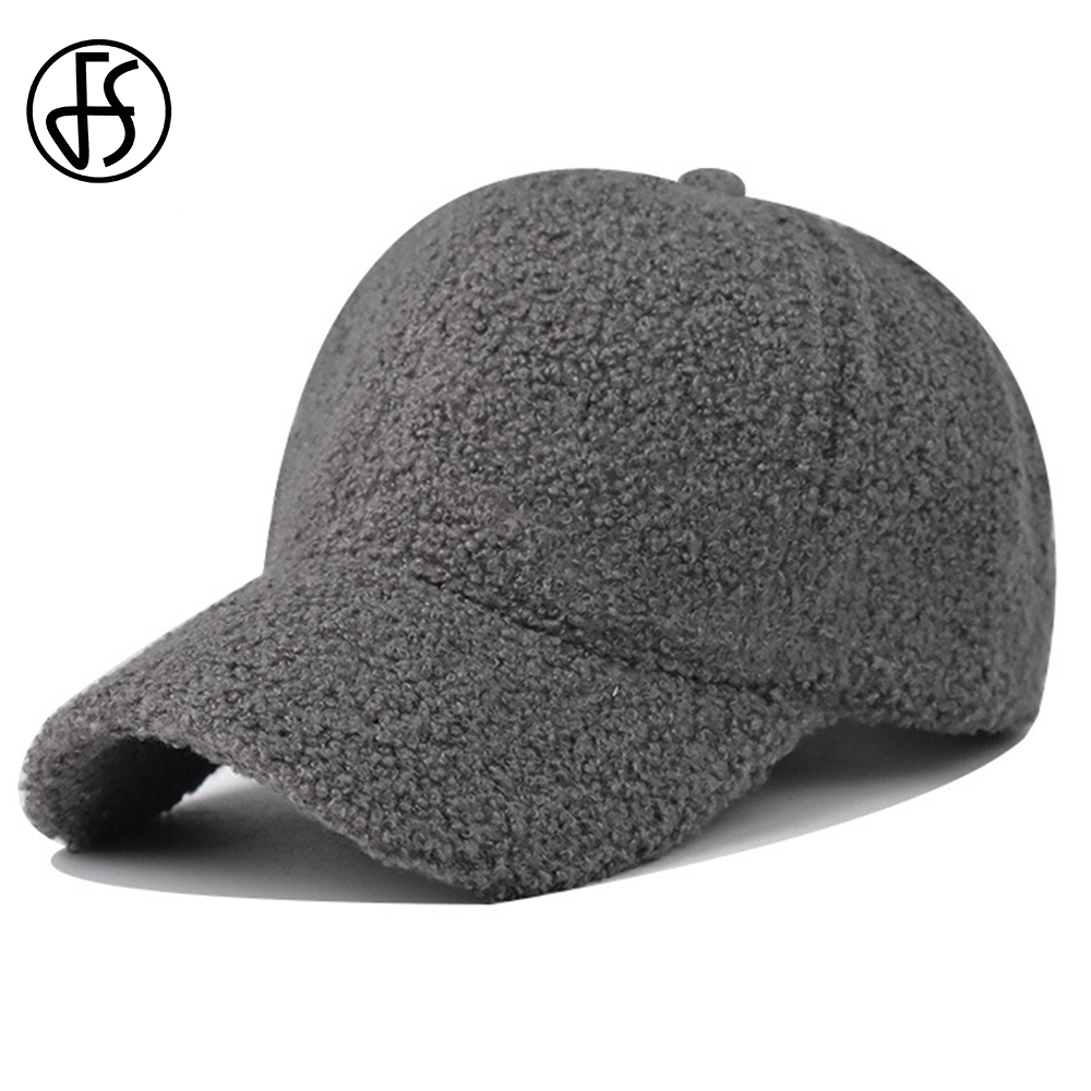 FS 2021 New Winter Lambswool Hats For Men Women Solid Color Baseball Cap Gray Brown Outdoor Warm Windproof Face Caps Casquette