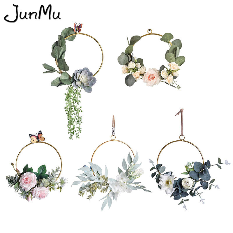 Artificial Metal Easter Flower Wreath Iron Ring Wedding Party Deco Supplies DIY Floral Hoop Crafts Home Hanging Ornament