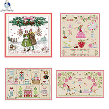 Stamped Embroidery Crafts Needlepoint Starter Kits-Two Kittens. 13x12.6 Goldeal Joy Sunday DIY Cross Stitch Kits for Home Decor