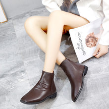 Women Ankle Boots Zip Square head low heel Female Party Shoes Comfortable zapatos de mujer luxury shoes women designers W20-81(China)