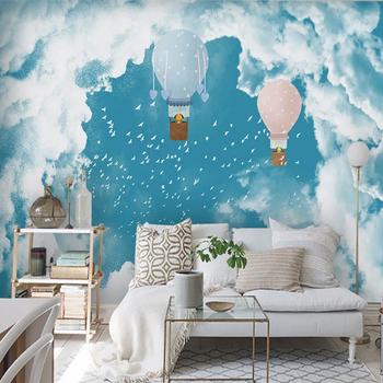 Chmura fototapeta błękitne niebo białe mewa fototapeta dziecięca sypialnia balon Hd 3d tapeta tanie i dobre opinie CN (pochodzenie) cartoon Koreański Odporna na pleśń bez formaldehydu przyjazne dla środowiska Odporne na wodę SALON