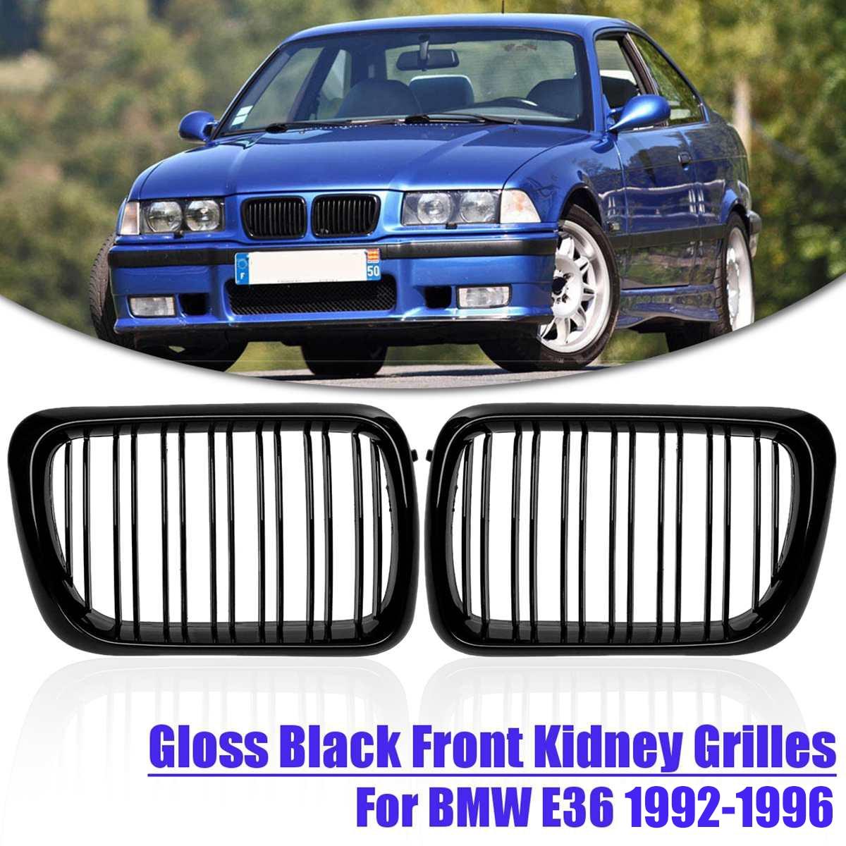 Auto ersetzen Racing Grills Paar Matte Schwarz M Dual Line Vordere Niere Gitter Für BMW E36 1992 1993 1994 1995 1996