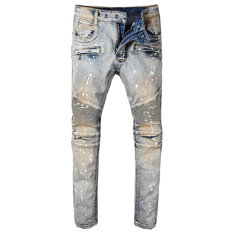 Seveyfan Hi Street Men's Vintage Motorcycle Jeans Vintage Skinny Painted Biker Jeans Brand Urban Jeans For Male R2567