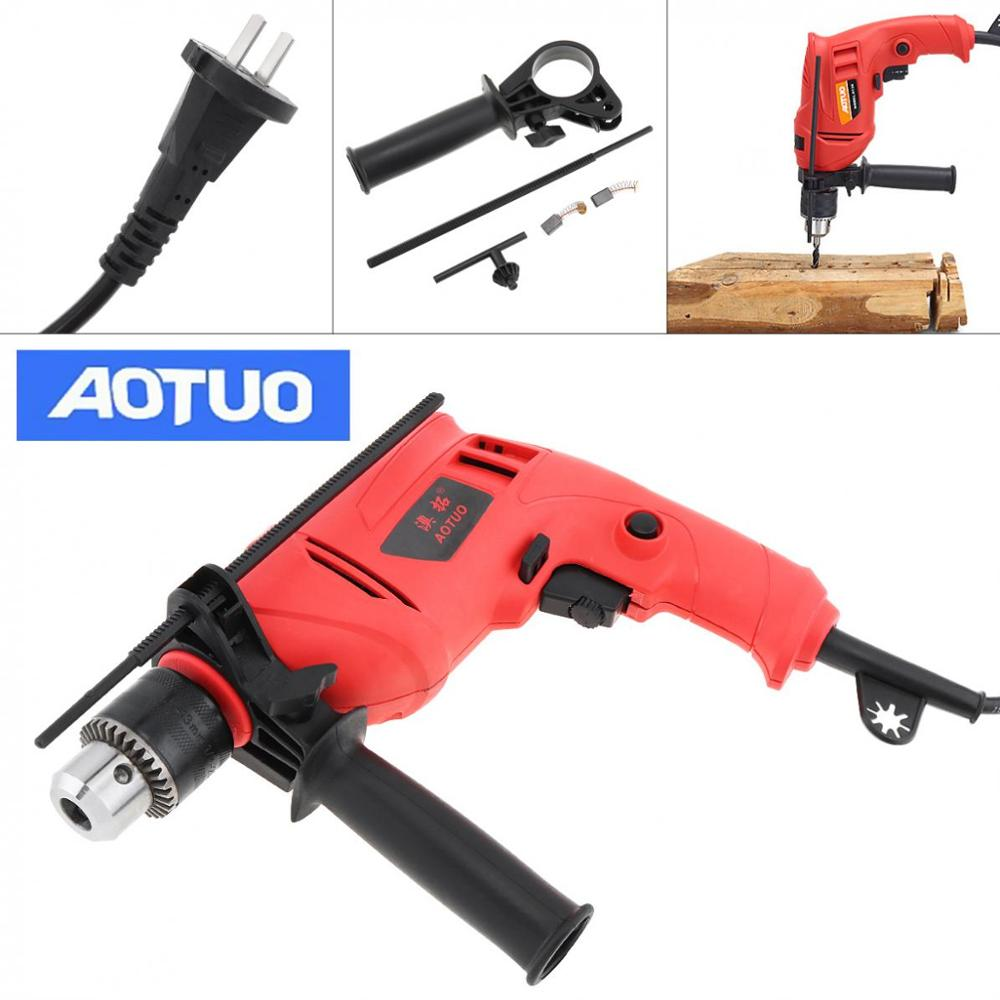 220V 710W Polishing Drill High Power Handheld Impact Electric Drill With Depth Ruler And 13mm Drill Chuck For Handling Screws