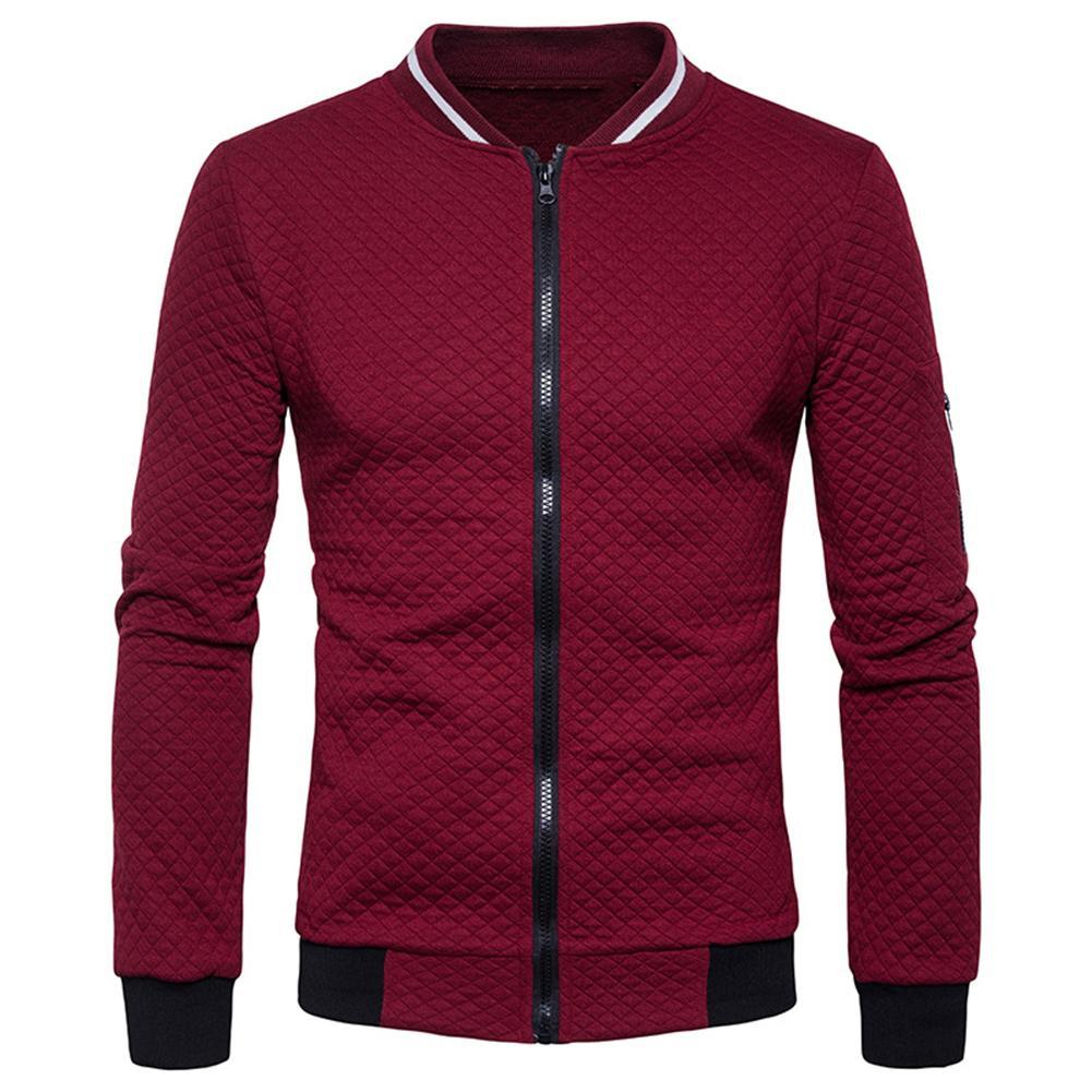 Casual Men Winter Long Sleeve Solid Color Zipper Plus Size Baseball Jacket Coat Solid Color Zipper Plus Size Baseball Jacket Coa