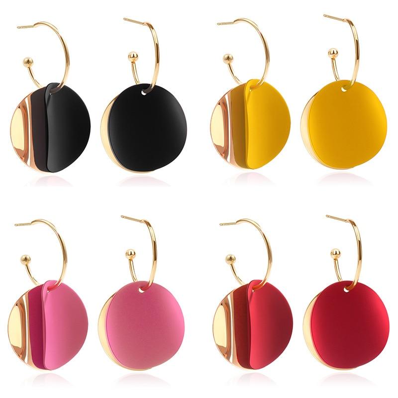 POXAM 2020 New Korean Statement Round Gold Dangle Earrings For Women Fashion Metal Geometric Female Wedding Earrings Jewelry
