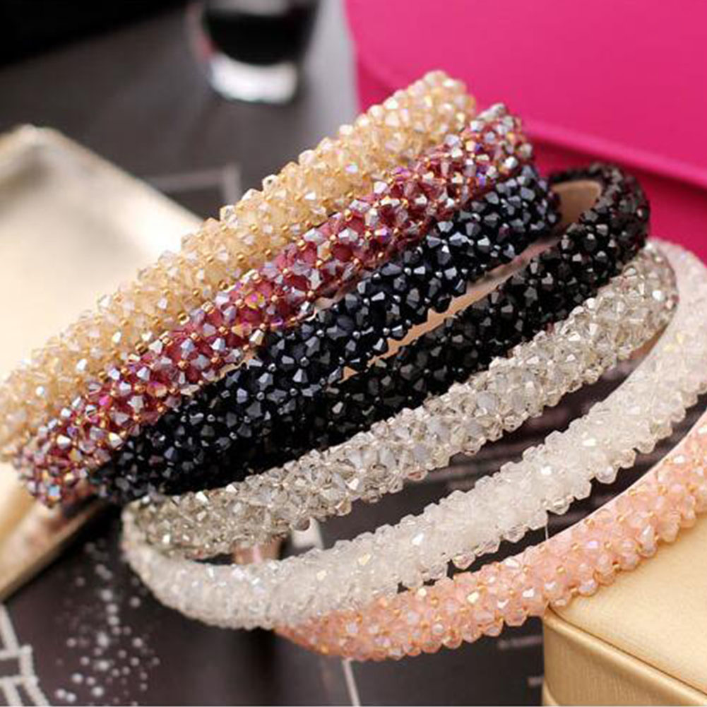Girls Shiny Luxury Rhinestone Hair Band Diamond Hair Hoop Hair Accessories For Women Crystal Headbands Headwear Headdress