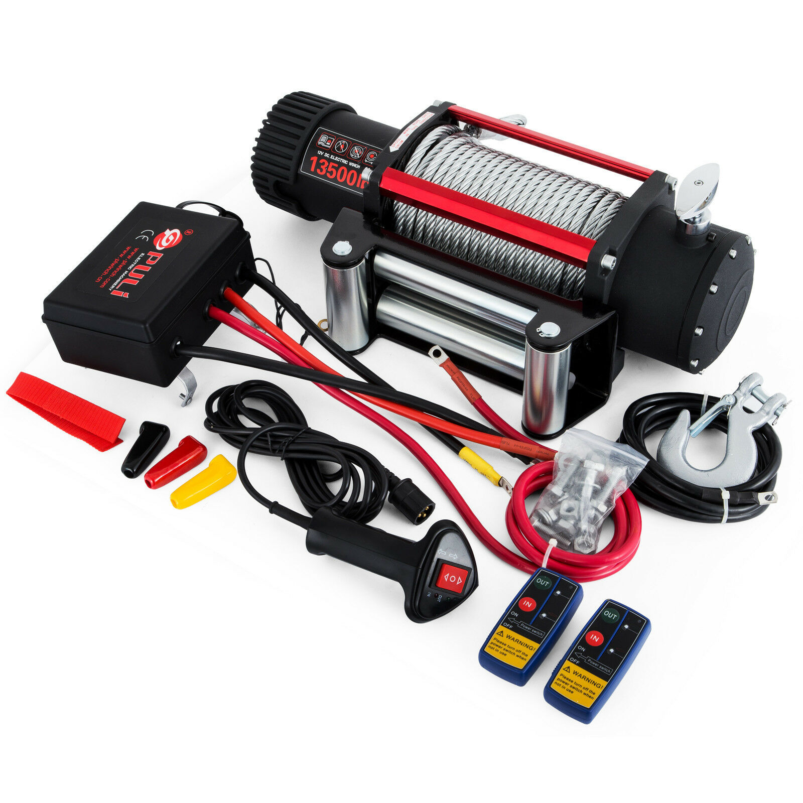12V Electric Winch  Steel Rope Winch 12V 6120KG 13500lbs Remote Control 5KW Recovery