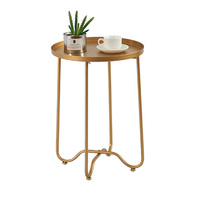 Nordic Metal Simple Wrought Iron Coffee Table Living Room Bedroom Golden Small Side Sofa Balcony Round Tea Table