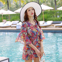 2019 New Style Retro Two piece Swimsuits Three piece Set Belly Covering Hot Springs Bathing Suit Women's Conservative Bikini a G
