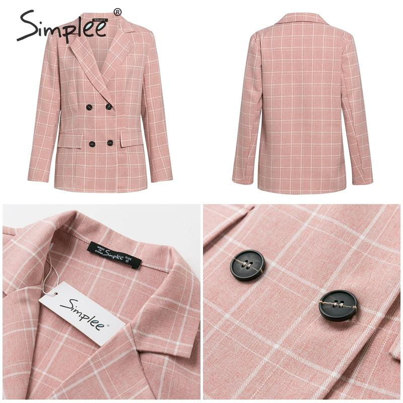Hd817d1bf3a5b48e68804372e11c82098R - Simplee Fashion plaid women blazer suits Long sleeve double breasted blazer pants set Pink office ladies two-piece blazer sets