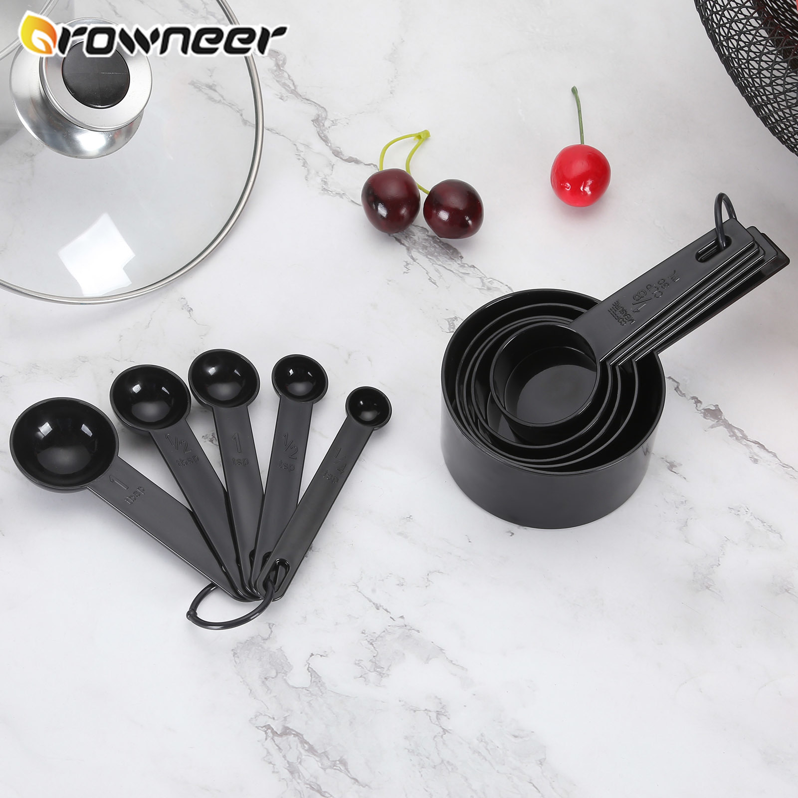 10pcs Measuring Scoop Plastic Measuring Spoon Cups Handle Measuring Set Baking Coffee Kitchen Cups Black Kitchen Cooking Tools