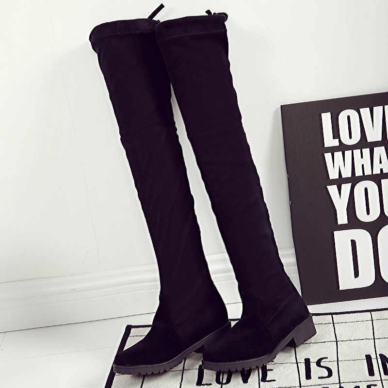 ต้นขาสูงรองเท้าหญิงฤดูหนาวรองเท้าผู้หญิงกว่าเข่าบู๊ทส์แบนยืดเซ็กซี่แฟชั่นรองเท้า 2018 สีดำ Botas Mujer 369