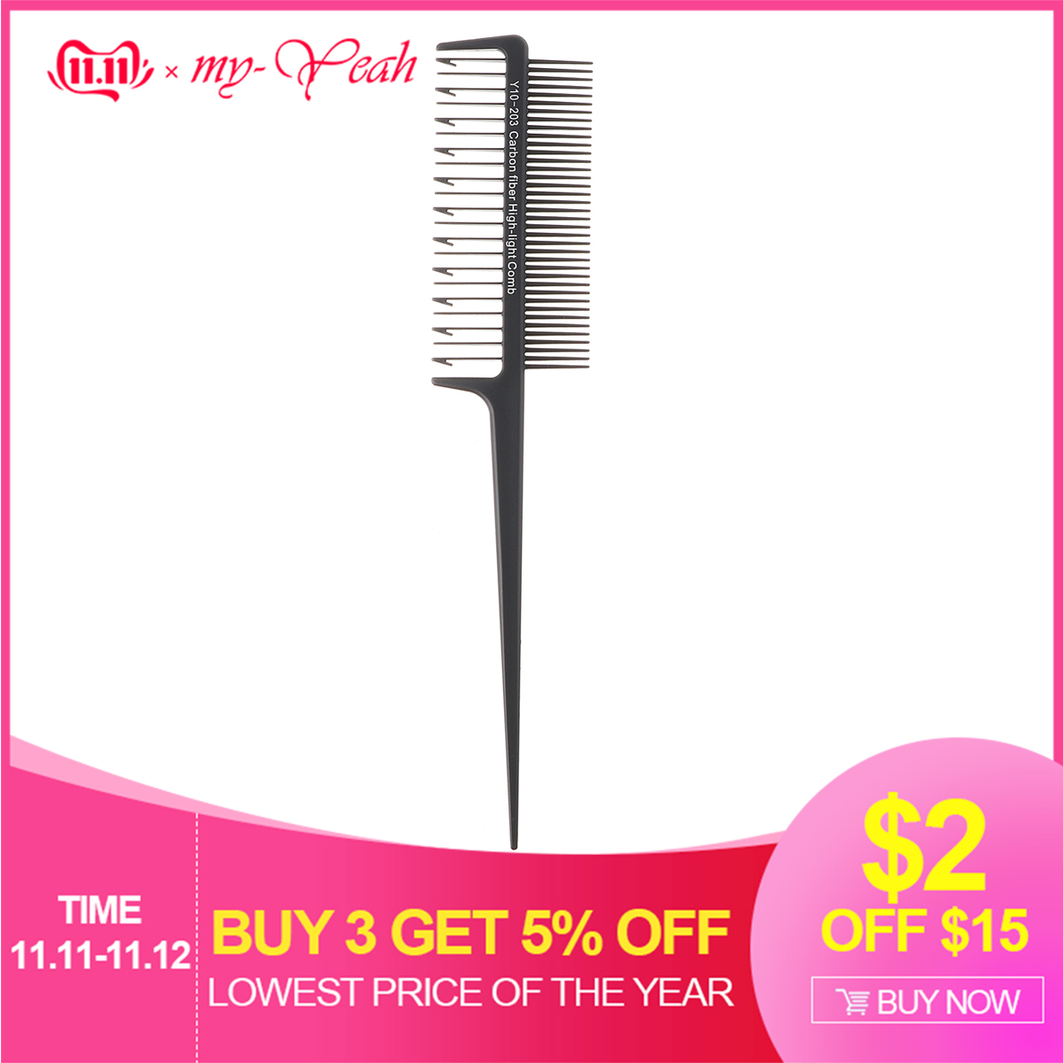 1Pcs Pro Highlighting Dye Double Side Hair Dye Comb With Hook Design Tint Comb Hairdressing Hair Color Styling Tools