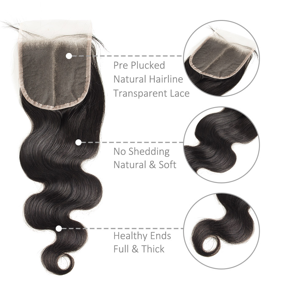 4x4 Swiss Lace Closure 100%    Products Natural Hairline Body Wave Lace Frontal Closure 5