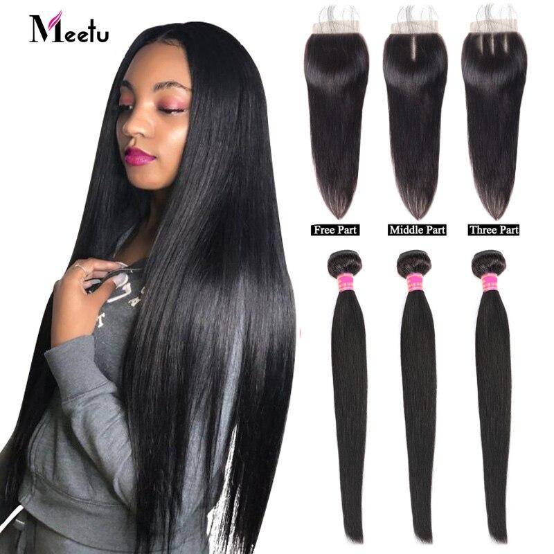 Meetu Malaysian Hair Bundles With Closure Straight Hair Bundles With Closure Natural Human Hair Bundles With Closure Non Remy