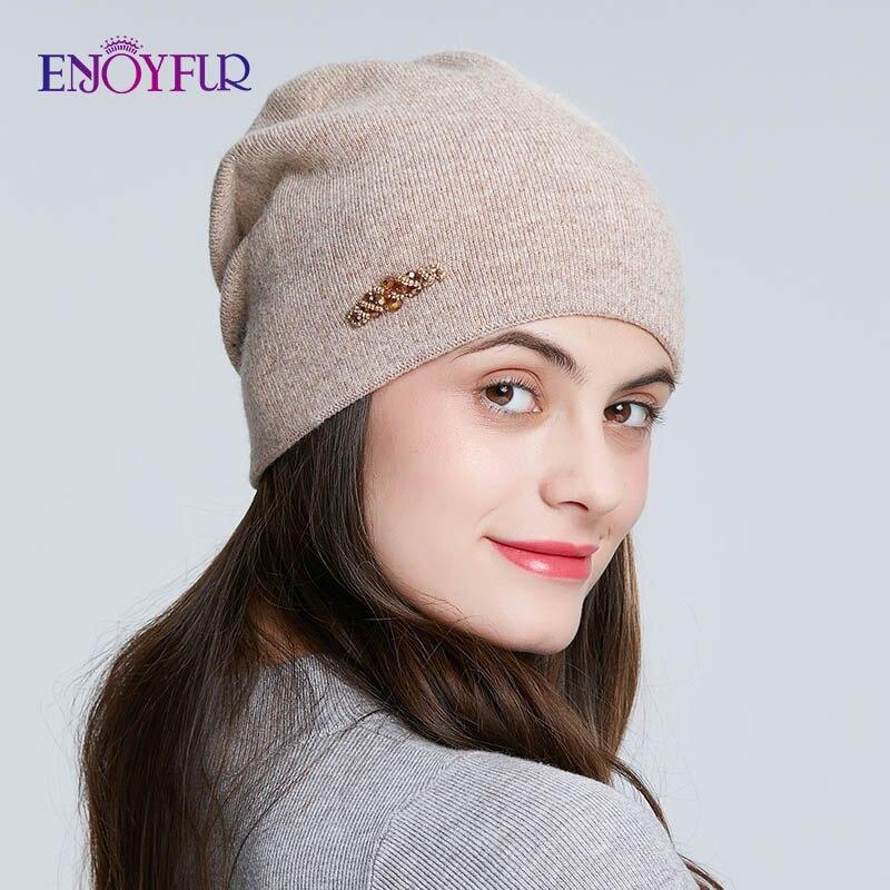 ENJOYFUR Rhinestones Wool Knitted Winter Hats For Women Autumn Cashmere Female Hat Girl Warm Gravity Falls Cap Lady Beanies