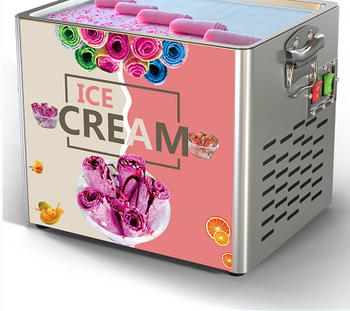 2021New Small Fried Ice Cream Roll Machine  Home Use Stainless Stell Fried Ice Pan Machinery Free Shiping 1
