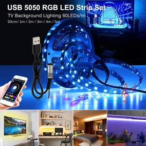 Image 2 - USB LED רצועת 5050 RGB לשינוי LED טלוויזיה רקע תאורה 50CM 1M 2M 3M 4M 5M DIY גמיש LED אור.