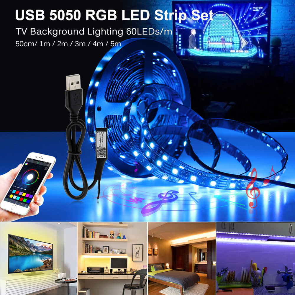 USB LED Strip RGB 5050 LED Yang Dapat Diganti Latar Belakang TV Pencahayaan 50CM 1M 2M 3M 4M 5M DIY Fleksibel Lampu LED.