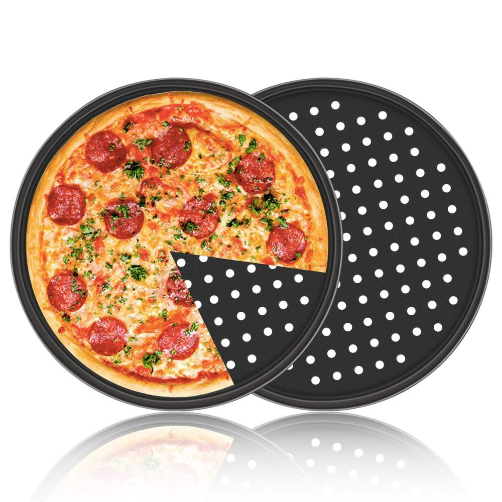 12inch Pizza Pan with Holes Carbon Steel Perforated Baking Pan Round Pizza Crispy Crust Tray Bakeware Set Cooking Accessories|Pizza Tools| |  - title=