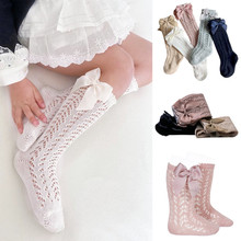 Baby Socks Mesh-Girl Hollow-Out Toddlers Knee-High Cotton Summer with Bow Soft Kids Princess-Sock