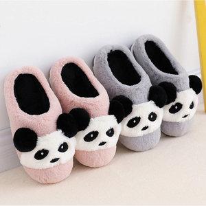 Image 1 - 2019 חורף נעלי ילדי כותנה נעלי בית Cartoon סגנון חם פו פרווה ילדים מקורה נעלי בית בני בנות חם רצפת שקופיות KD10042