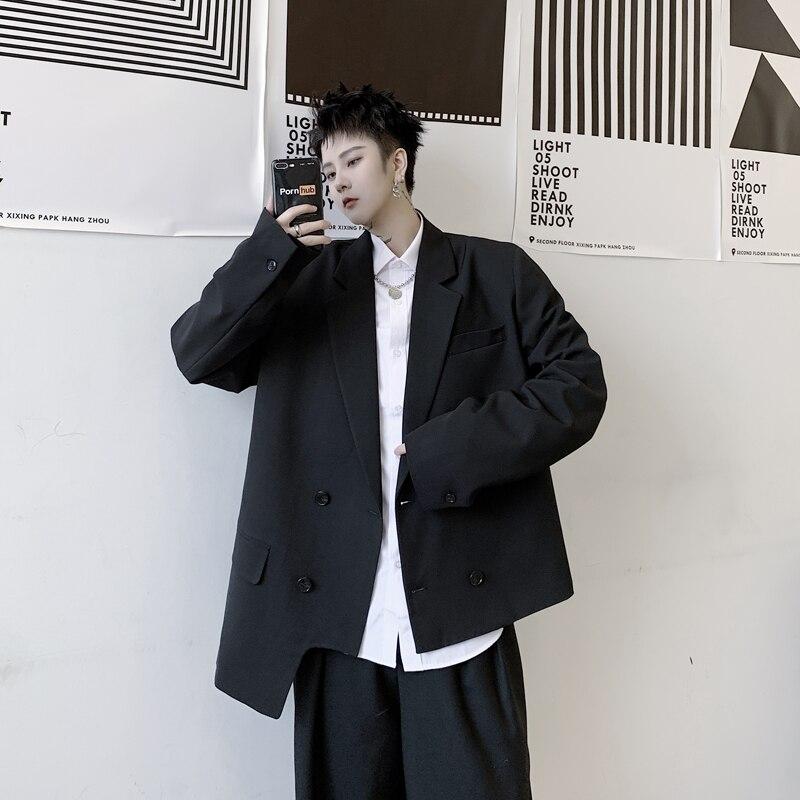 2020 Double Breasted Casual Blazer Coat New Men Asymmetry Hem  Male Japan Streetwear Jacket Outerwear Fashion Hip Hop Suit B75
