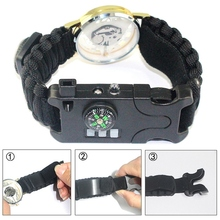Field Survival Braided Multifunctional Emergency Bracelets Outdoor Camping Rescue Rope Watch Compass