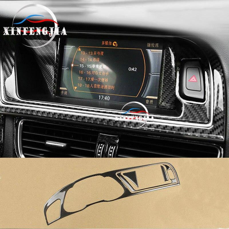 For Audi A5 A4 B8 13-16 Carbon Fiber Front GPS Navigator Frame Cover Trim